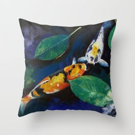 Koi and Banyan Leaves Throw Pillow