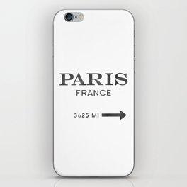 black watercolor paris france iPhone Skin