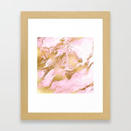 Rose Gold Mermaid Marble Framed Art Print