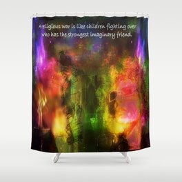 """""""Religion Is Childsplay"""" by surrealpete Shower Curtain"""