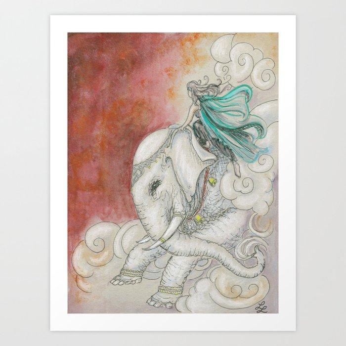 Climbing Ganesha Art Print