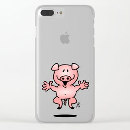 Cheerful little pig Clear iPhone Case