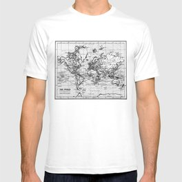 World Map (1899) White & Black T-shirt