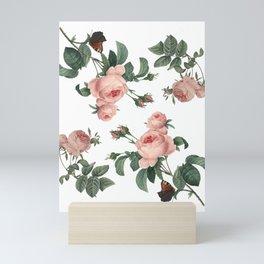 Rose Garden Butterfly Pink on White Mini Art Print