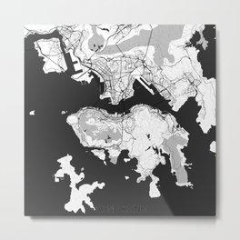 Hong Kong Map Gray Metal Print