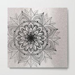 Elegant faux silver glitter black henna mandala Metal Print