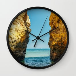 Rocks And Ocean Landscape In Lagos, Wall Art Print, Landscape Art, Poster Decor, Large Photo Wall Clock