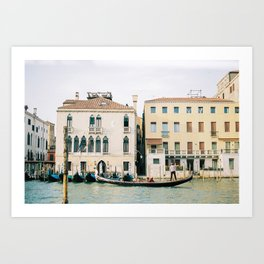 Gondola in the canals of Venice, Italy | Pastel colorful travel photography in Europe Art Print