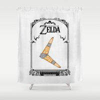 legend of zelda Shower Curtains featuring Zelda legend - Boomerang by Art & Be