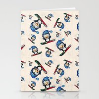 snowboard Stationery Cards featuring Too Cool to Penguin by Schwebewesen • Romina Lutz