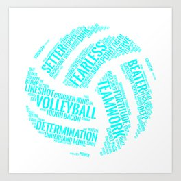 Turquoise Volleyball Wordcloud - Gift Art Print