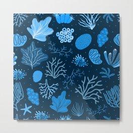 Hand Drawn Deep Sea Coral Pattern Metal Print