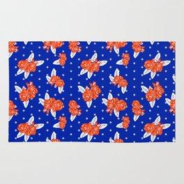 Florida fan gators university orange and blue team spirit football college sports florals Rug