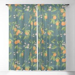 Citrus Tree - Navy Sheer Curtain