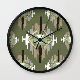 Tribal pattern Ikat dark green Wall Clock