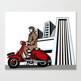 Driver on Vespa Canvas Print