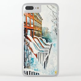 Brooklyn New York In Snow Storm Clear iPhone Case