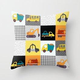 Patchwork Cars Trucks Kids Quilt Pattern Throw Pillow