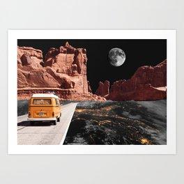 Collage, Car, Western, Moon, Creative, Nature, Modern, Trendy, Wall art Art Print