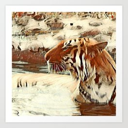 Warm colored Animal swimming tiger Art Print
