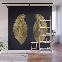 Gol Leaf Wings on Black Wall Mural