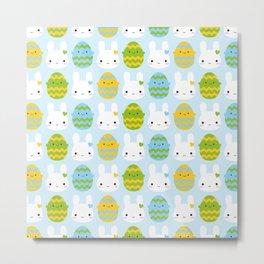 Kawaii Easter Bunny & Eggs Metal Print