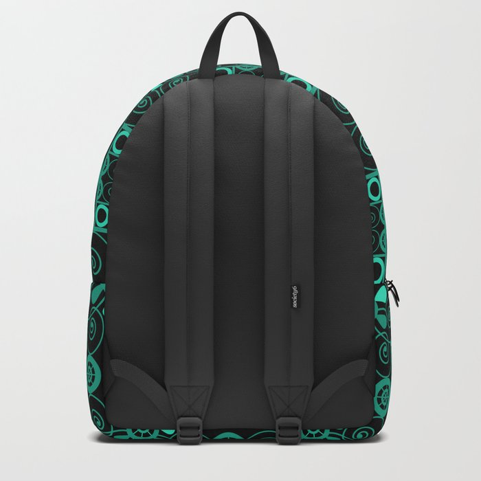 Retro . Black turquoise ornament . Backpack