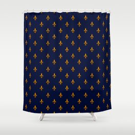 Blue & Gold Fleur-de-Lis Pattern Shower Curtain