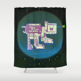 Spatial Bot Dog Shower Curtain