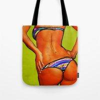 bikini Tote Bags featuring Bikini by Ed Pires