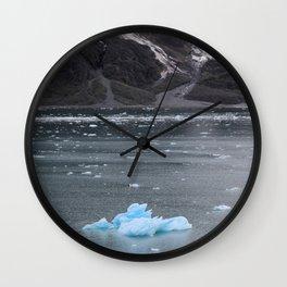 Alaska Snowy Mountain Cool Blue Icebergs Wall Clock