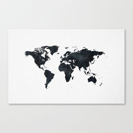 Continents canvas prints society6 world map in black and white ink on paper canvas print gumiabroncs Gallery