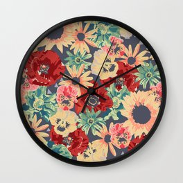 SEPIA FLOWERS -poppies, pansies & sunflowers- Wall Clock