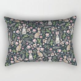 Cute rabbits (dark blue) Rectangular Pillow