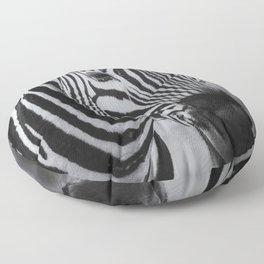 Portrait of a Plains Zebra bw Floor Pillow