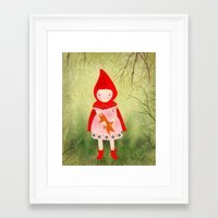 red riding hood Framed Art Prints featuring Little red riding hood by munieca