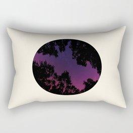 Tree Silhouette Against Purple Sky Circle Photo Frame Rectangular Pillow