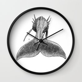 Horned Whale B/W Wall Clock