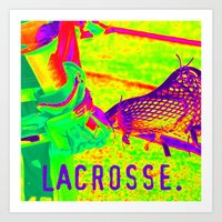 lacrosse Art Prints featuring LACROSSE PLAYER by TMCdesigns