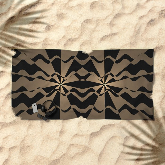 Trendy abstract in gold and black Beach Towel