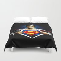 superman Duvet Covers featuring Superman by DavinciArt