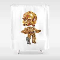 c3po Shower Curtains featuring C3PO by oRen