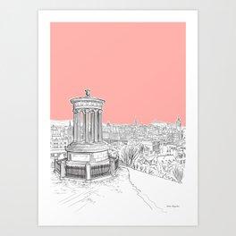 Overlooking Edinburgh (Coral Version) Art Print
