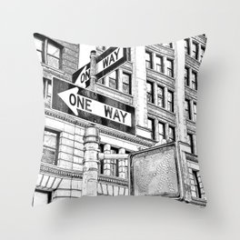 Stop, Look and One Way Street . Throw Pillow