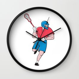 Lacrosse Player Crosse Stick Running Isolated Cartoon Wall Clock