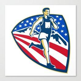 American Marathon Runner Running Retro Canvas Print