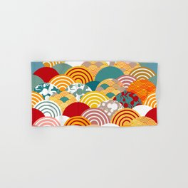Nature background with japanese sakura flower, orange red pink Cherry, wave circle pattern Hand & Bath Towel