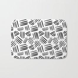 Abstract black white watercolor brushstrokes motif Bath Mat
