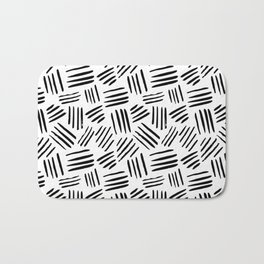 Abstract black white watercolor brushstrokes motif Bath Mat