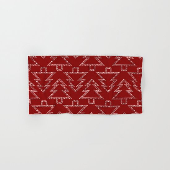 Merry Christmas- Abstract christmas tree pattern on festive red Hand & Bath Towel